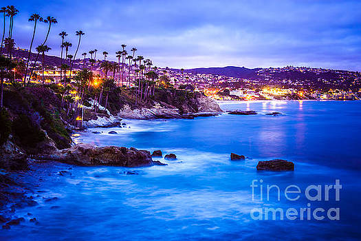 Picture of Laguna Beach California City at Night by Paul Velgos