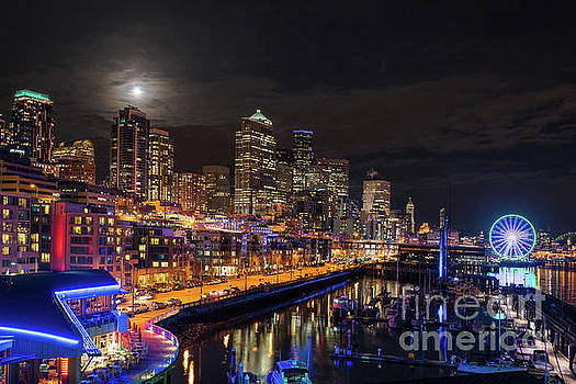 Pier 66 Full Moon Rising Over Seattle by Mike Reid