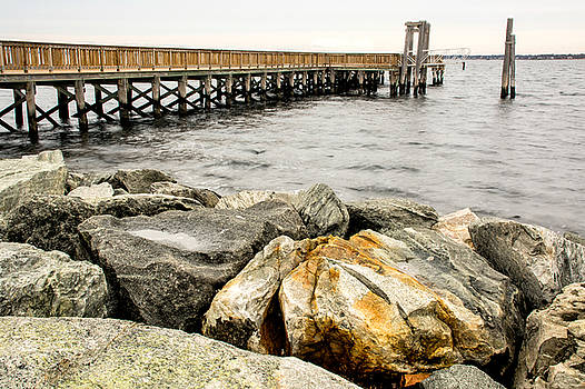 Pier and Rocks at Colt State Park by Nancy De Flon