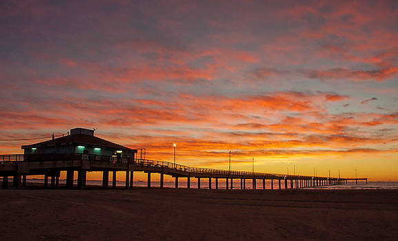 Pier at sunrise Port Aransas TX by Brian Kinney