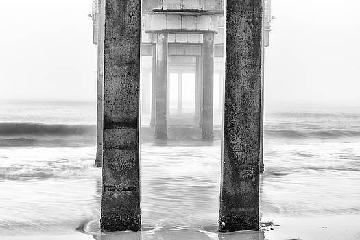 Pier in Orange Beach AL Black and White  by John McGraw