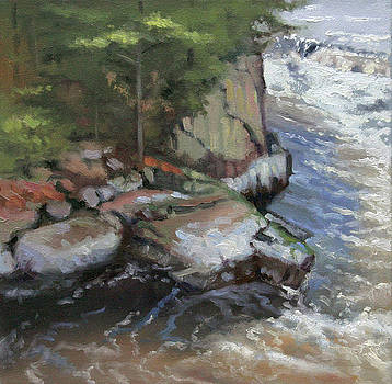 Piers Gorge of the Menomonee River- plein air by Larry Seiler