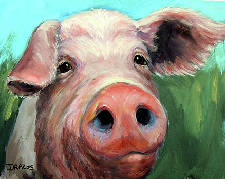 Pig on Blue and Green by Dottie Dracos