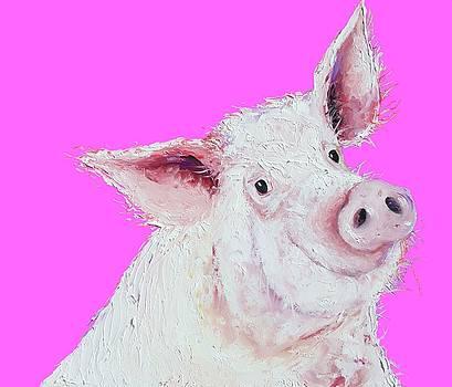 Jan Matson - pig painting on hot pink