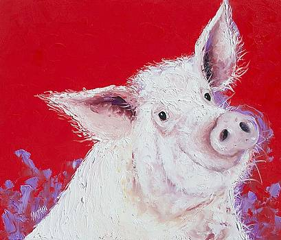Jan Matson - Pig painting on red background