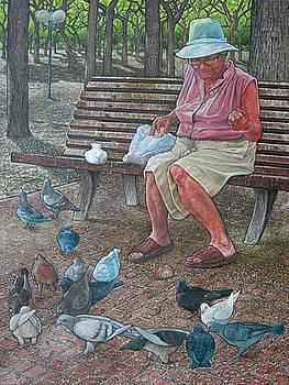 Pigeon feeder by Giora Eshkol