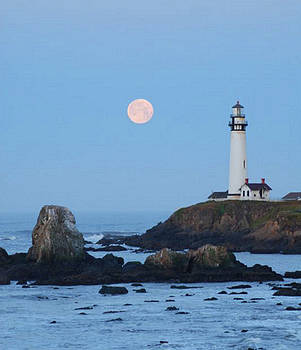 Pigeon Point at Moonset by Lawrence Pratt