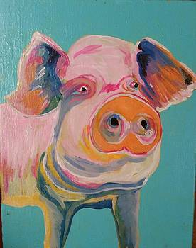 Piggy on pink by Cindy Large