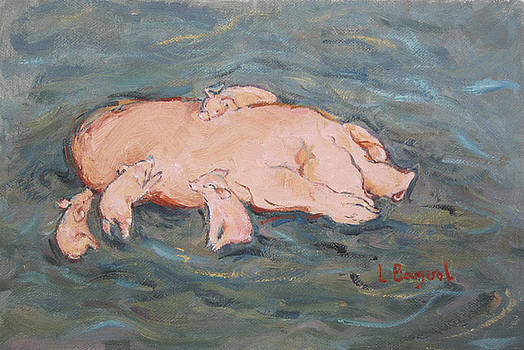 Piglets Nestle with Mama by Lynn Gimby-Bougerol