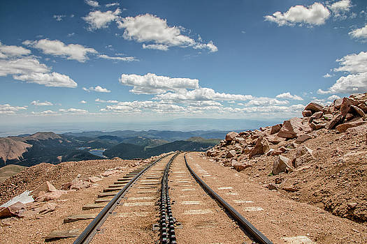 Pikes Peak Cog Railway Track at 14,110 Feet by Peter Ciro