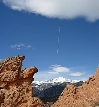 Pikes Peak from Garden of the Gods with Contrail by Rhonda Van Pelt
