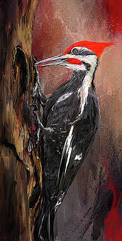 Pileated Woodpecker Art by Lourry Legarde