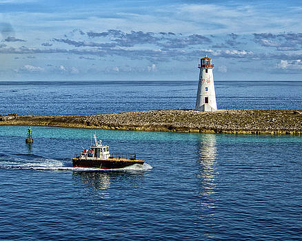 Pilot Boat at Nassau Light by Bill Swartwout