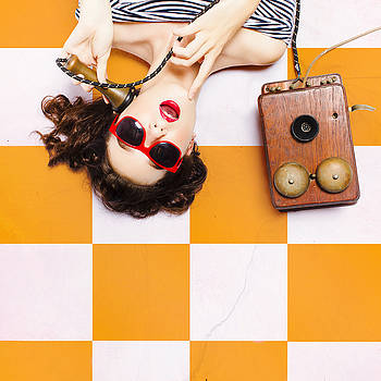 Pin-up beauty decision making on old phone by Jorgo Photography - Wall Art Gallery