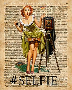 Pin Up Girl Making #selfie Vintage Dictionary Art by Anna W