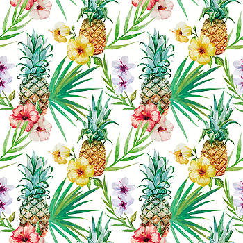 Pineapple and tropical flowers by Vitor Costa