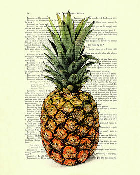 Pineapple in color illustration by Madame Memento