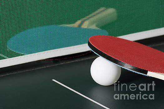 Ping Pong Paddles on Table with Net by Jason Kolenda