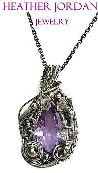 Pink Amethyst Wire-Wrapped Pendant Necklace in Antiqued Sterling Silver with Herkimer Diamonds by Heather Jordan