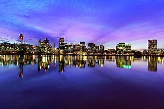 Pink and Blue Hue Evening Sky over Portland Oregon by David Gn
