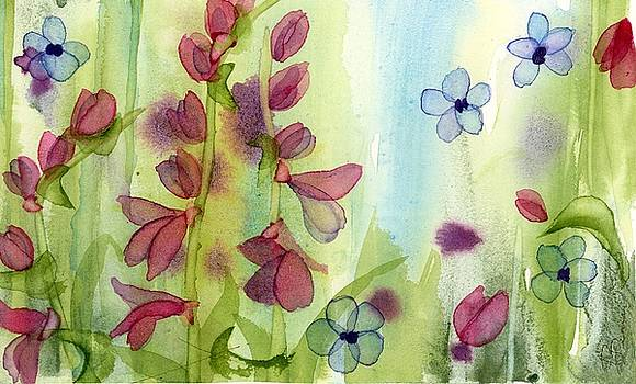 Pink and Blue Wildflowers by Dawn Derman