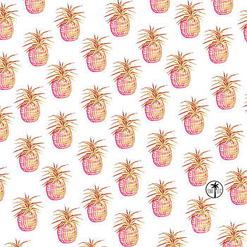 Pink and Gold Pineapple Pattern Design from the Sunnie Tees Collection by Megan Duncanson