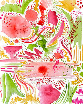 Pink and Green Abstract by Jennifer Ahern