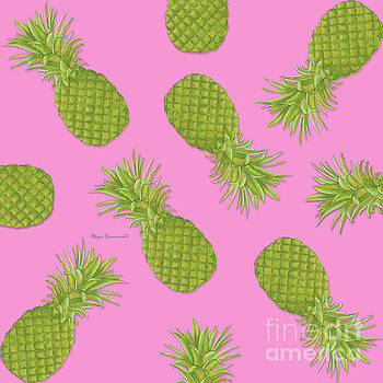 Pink and Green Pineapple Pattern Design by Megan Duncanson by Megan Duncanson