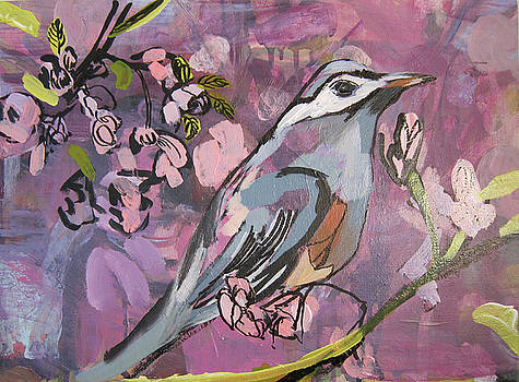 Pink And Purple With Bird by Colette Wirz