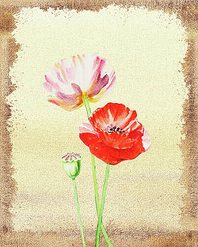 Pink And Red Poppies by Irina Sztukowski