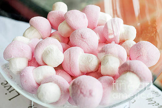 Pink And White Marshmallows In Bowl by Jacek Malipan