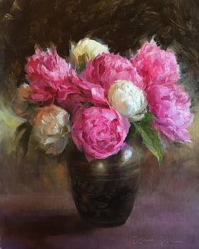Pink and White Peonies by Anna Rose Bain