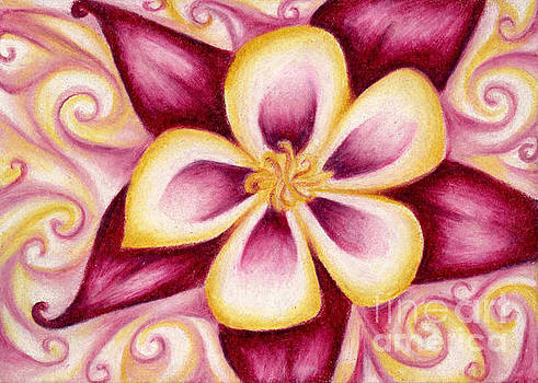 Pink and Yellow Columbine Flower Drawing by Kristin Aquariann
