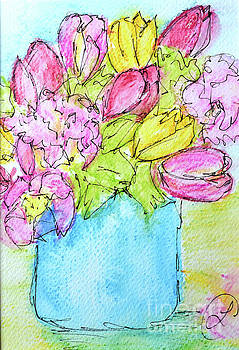 Pink and Yellow Tulips by Lynda Cookson