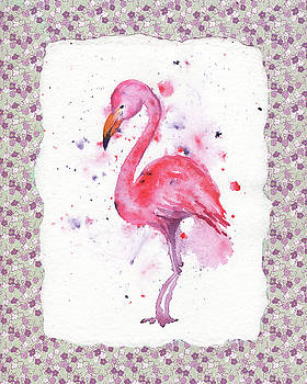 Pink Baby Flamingo Watercolor by Irina Sztukowski