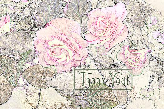 Sandra Foster - Pink Begonias - Thank You Card
