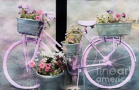 Pink Bicycle And Flowers by Kathleen Struckle
