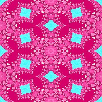 Pink blue fractal floral seamless pattern by Lenka Rottova