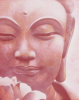 Pink Buddha with Flower by Yuri Leitch