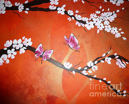 Pink Butterflies and Cherry Blossom by Julia Underwood