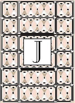 Pink Champagne Deco Monogram  J by Cecely Bloom