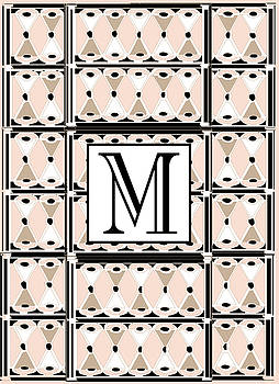 Pink Champagne Deco Monogram  M by Cecely Bloom