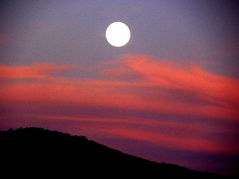 Pink Clouds With Moon by Joseph Frank Baraba