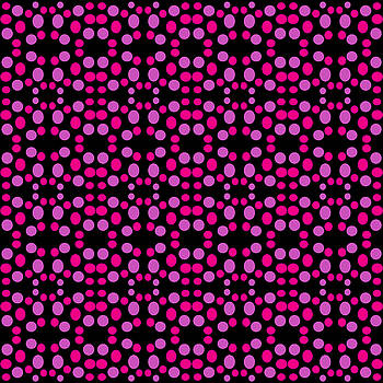 Pink Dots Pattern on Black by BrightVibesDesign