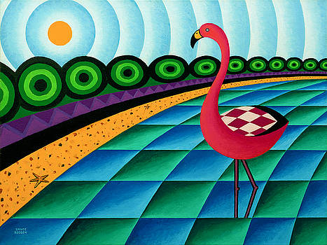 Pink Flamingo In Lagoon by Bruce Bodden