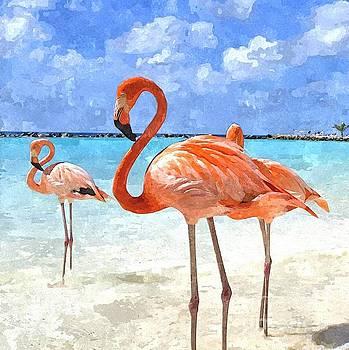 Pink Flamingos on the Beach by Jennifer Capo