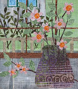 Pink Flowers in Purple Vase by Janyce Boynton
