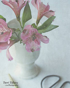 Pink Flowers in White Vase by Terri Tiffany