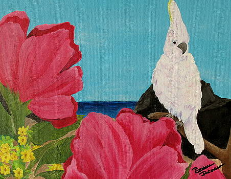 Pink Flowers White Bird by Barbara Petersen
