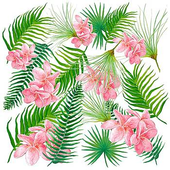Jan Matson - Pink Frangipani and Fern Leaves